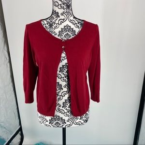 Express 3/4 Sleeve Rhinestone Buttons RED Sweater